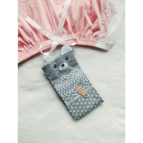 Grey 3D bear socks