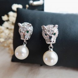 Leopard Dimante and Pearl Earrings
